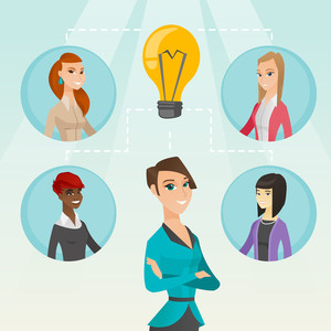 Caucasian businesswomen working on a business ideas. Businesswomen discussing business idea. Group of businesswomen connected by one idea light bulb. Vector flat design illustration. Square layout.