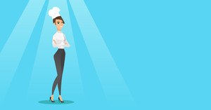 Caucasian cheerful chief cook in uniform and hat standing with arms crossed. Young caucasian chef cook. Full length of confident female chief cook. Vector flat design illustration. Horizontal layout.
