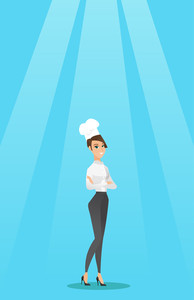 Caucasian cheerful chief cook in uniform and hat standing with arms crossed. Young caucasian chef cook. Full length of confident female chief cook. Vector flat design illustration. Vertical layout.