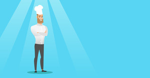 Caucasian cheerful chief cook in uniform and hat standing with arms crossed. Young caucasian chef cook. Full length of confident hipster chief cook. Vector flat design illustration. Horizontal layout.