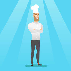 Caucasian cheerful chief cook in uniform and hat standing with arms crossed. Young caucasian chef cook. Full length of confident hipster chief cook. Vector flat design illustration. Square layout.