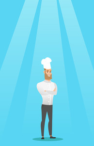 Caucasian cheerful chief cook in uniform and hat standing with arms crossed. Young caucasian chef cook. Full length of confident hipster chief cook. Vector flat design illustration. Vertical layout.