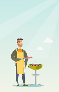 Caucasian cheerful man cooking steak on the barbecue grill outdoor. Smiling man preparing steak on the barbecue grill. Man having outdoor barbecue. Vector flat design illustration. Vertical layout.