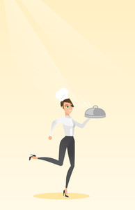 Caucasian chef cook in the cap and white uniform running. Young cheerful chef cook holding a cloche. Smiling chef cook fast running with a cloche. Vector flat design illustration. Vertical layout.