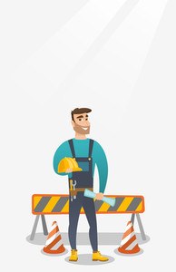 Caucasian constructor with blueprint at construction site. Constructor holding hard hat and twisted blueprint. Constructor checking construction works. Vector flat design illustration. Vertical layout
