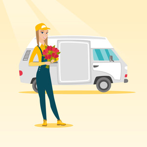 Caucasian courier with flowers on background of delivery truck. Delivery courier holding bouquet of flowers. Young delivery courier delivering flowers. Vector flat design illustration. Square layout.