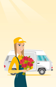 Caucasian courier with flowers on background of delivery truck. Delivery courier holding bouquet of flowers. Young delivery courier delivering flowers. Vector flat design illustration. Vertical layout