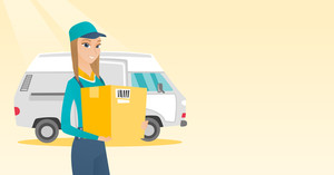 Caucasian delivery courier holding box on the background of truck. Delivery courier carrying cardboard box. Delivery courier with box in hands. Vector flat design illustration. Horizontal layout.