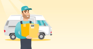 Caucasian delivery courier holding box on the background of truck. Young delivery courier carrying cardboard box. Delivery courier with box in hands. Vector flat design illustration. Horizontal layout