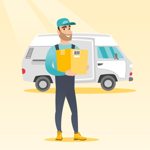 Caucasian delivery courier holding box on the background of truck. Young delivery courier carrying cardboard box. Delivery courier with box in hands. Vector flat design illustration. Square layout.