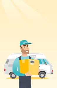 Caucasian delivery courier holding box on the background of truck. Young delivery courier carrying cardboard box. Delivery courier with box in hands. Vector flat design illustration. Vertical layout.