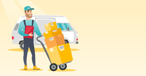 Caucasian delivery courier pushing trolley with cardboard boxes. Young delivery courier holding clipboard. Courier standing in front of delivery van. Vector flat design illustration. Horizontal layout