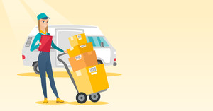Caucasian delivery courier with cardboard boxes on troley. Young delivery courier holding clipboard. Courier standing in front of delivery van. Vector flat design illustration. Horizontal layout.