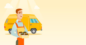 Caucasian delivery man holding a box of cakes. Baker delivering cakes. Business man with cupcakes standing on the background of delivery truck. Vector flat design illustration. Horizontal layout.