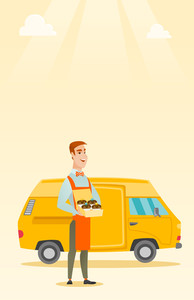 Caucasian delivery man holding a box of cakes. Baker delivering cakes. Young business man with cupcakes standing on the background of delivery truck. Vector flat design illustration. Vertical layout.