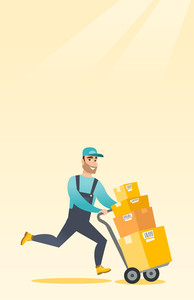 Caucasian delivery postman with cardboard boxes on trolley. Delivery postman pushing trolley with cardboard boxes. Delivery postman delivering parcels. Vector flat design illustration. Vertical layout