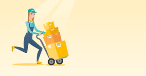 Caucasian delivery postman with cardboard boxes on trolley. Young delivery postman pushing trolley with boxes. Delivery postman delivering parcels. Vector flat design illustration. Horizontal layout.