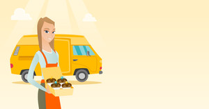 Caucasian delivery woman holding a box of cakes. Baker delivering cakes. Business woman with cupcakes standing on the background of delivery truck. Vector flat design illustration. Horizontal layout.