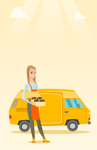 Caucasian delivery woman holding box of cakes. Baker delivering cakes. Young business woman with cupcakes standing on the background of delivery truck. Vector flat design illustration. Vertical layout