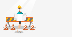 Caucasian engineer watching a blueprint at construction site. Female engineer with engineer blueprint standing on the background of road barriers. Vector flat design illustration. Horizontal layout.