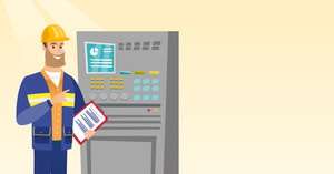 Caucasian engineer with clipboard standing in front of the control panel. Man working on control panel. Worker pressing button at control panel. Vector flat design illustration. Horizontal layout.