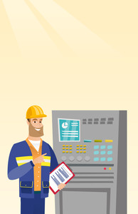 Caucasian engineer with clipboard standing in front of the control panel. Man working on control panel. Young worker pressing button at control panel. Vector flat design illustration. Vertical layout.
