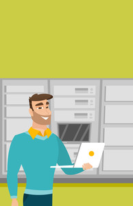 Caucasian engineer with laptop working in network server room. Engineer standing in network server room. Network engineer using laptop in server room. Vector flat design illustration. Vertical layout.
