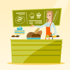 Caucasian female bakery worker offering pastry. Smiling female bakery worker standing behind the counter with cakes. Woman working at the bakery. Vector flat design illustration. Square layout.