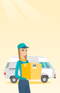 Caucasian female delivery courier holding box on the background of truck. Delivery courier carrying cardboard box. Delivery courier with box in hands. Vector flat design illustration. Vertical layout.