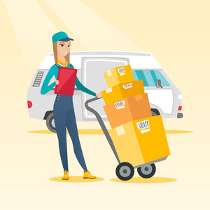 Caucasian female delivery courier with cardboard boxes on troley. Young delivery courier holding clipboard. Courier standing in front of delivery van. Vector flat design illustration. Square layout.