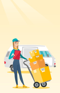 Caucasian female delivery courier with cardboard boxes on troley. Young delivery courier holding clipboard. Courier standing in front of delivery van. Vector flat design illustration. Vertical layout.