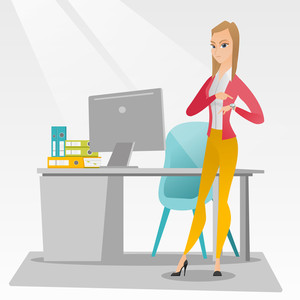 Caucasian female employer checking time of coming of latecomer employee. Young angry employer pointing at time on wrist watch. Concept of late to work. Vector flat design illustration. Square layout.