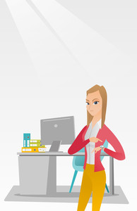Caucasian female employer checking time of coming of latecomer employee. Young angry employer pointing at time on wrist watch. Concept of late to work. Vector flat design illustration. Vertical layout