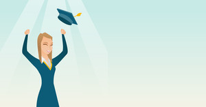 Caucasian female graduate throwing up her hat. Excited graduate in cloak and graduation hat. Cheerful female graduate with hands raised celebrating. Vector flat design illustration. Horizontal layout.