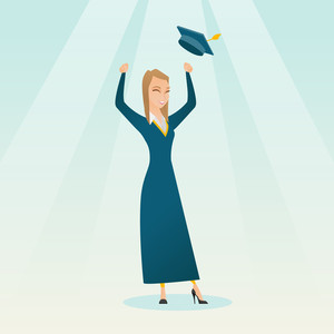 Caucasian female graduate throwing up her hat. Excited graduate in cloak and graduation hat. Cheerful female graduate with hands raised celebrating. Vector flat design illustration. Square layout.