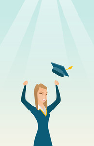 Caucasian female graduate throwing up her hat. Excited graduate in cloak and graduation hat. Cheerful female graduate with hands raised celebrating. Vector flat design illustration. Vertical layout.