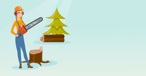Caucasian female lumberjack holding chainsaw. Lumberjack in workwear, hard hat and headphones at the forest near stump. Lumberjack chopping wood. Vector flat design illustration. Horizontal layout.
