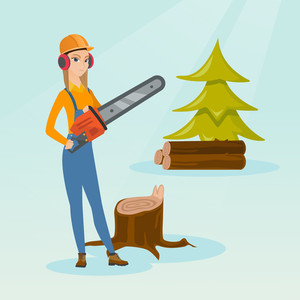 Caucasian female lumberjack holding chainsaw. Lumberjack in workwear, hard hat and headphones at the forest near stump. Young lumberjack chopping wood. Vector flat design illustration. Square layout.