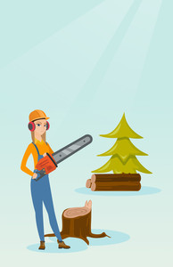 Caucasian female lumberjack holding chainsaw. Lumberjack in workwear, hard hat and headphones at the forest near stump. Young lumberjack chopping wood. Vector flat design illustration. Vertical layout