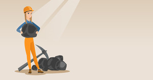 Caucasian female miner in hard hat holding coal in hands. Female miner with a pickaxe. Miner working at coal mine. Young happy female miner at work. Vector flat design illustration. Horizontal layout.