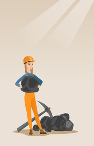 Caucasian female miner in hard hat holding coal in hands. Female miner with a pickaxe. Miner working at coal mine. Young happy female miner at work. Vector flat design illustration. Vertical layout.