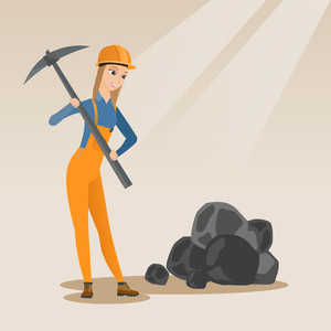 Caucasian female miner in hard hat working with a pickaxe. Female miner in helmet working at the coal mine. Young female miner at work. Vector flat design illustration. Square layout.