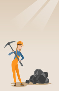 Caucasian female miner in hard hat working with a pickaxe. Female miner in helmet working at the coal mine. Young female miner at work. Vector flat design illustration. Vertical layout.