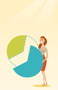 Caucasian female shareholder taking her share of financial pie chart. Young shareholder getting her share of profit. Business woman sharing profit. Vector flat design illustration. Vertical layout.