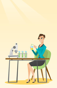 Caucasian female student carrying out laboratory experiment. Student working with microscope at laboratory class. Student experimenting in laboratory. Vector flat design illustration. Vertical layout.