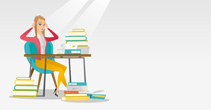 Caucasian female student studying hard before exam. Young stressed student studying with textbooks. Desperate female student studying in the library. Vector flat design illustration. Horizontal layout