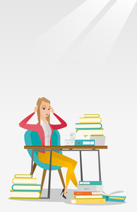 Caucasian female student studying hard before exam. Young stressed student studying with textbooks. Desperate female student studying in the library. Vector flat design illustration. Vertical layout.