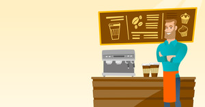 Caucasian friendly barista sanding in front of coffee machine. Male barista at coffee shop. Barista making a cup of coffee. Friendly barista at work. Vector flat design illustration. Horizontal layout