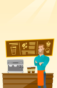 Caucasian friendly barista sanding in front of coffee machine. Male barista at coffee shop. Barista making a cup of coffee. Friendly barista at work. Vector flat design illustration. Vertical layout.
