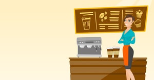 Caucasian friendly female barista sanding in front of coffee machine. Smiling barista sanding at coffee shop. Young barista making a cup of coffee. Vector flat design illustration. Horizontal layout.